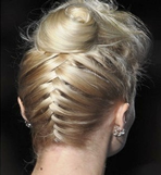 Braided reverse of formal blonde hairstyle by hair salon in Los Angeles and Satna Monica picture
